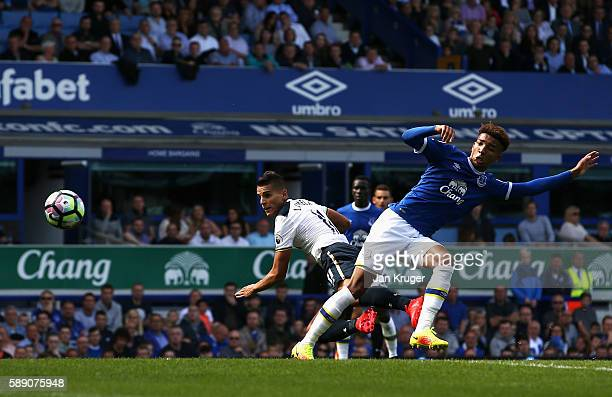 Erik Lamela of Tottenham Hotspur scores his sides first goal during the Premier League match between Everton and Tottenham Hotspur at Goodison Park...