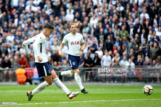 Erik Lamela of Tottenham Hotspur scores his sides fourth goal during the Premier League match between Tottenham Hotspur and Leicester City at Wembley...