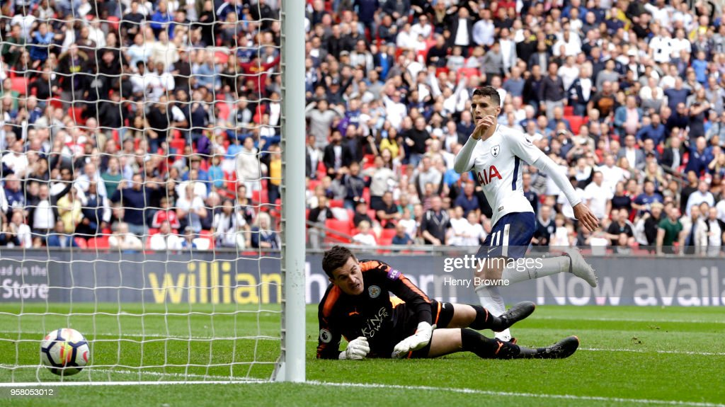Erik Lamela of Tottenham Hotspur scores his sides fourth goal during the Premier League match between Tottenham Hotspur and Leicester City at Wembley Stadium on May 13, 2018 in London, England.