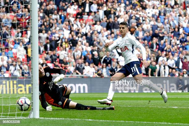 Erik Lamela of Tottenham Hotspur scores his sides fourth goal during the Premier League match between Tottenham Hotspur and Leicester City at Wembley...