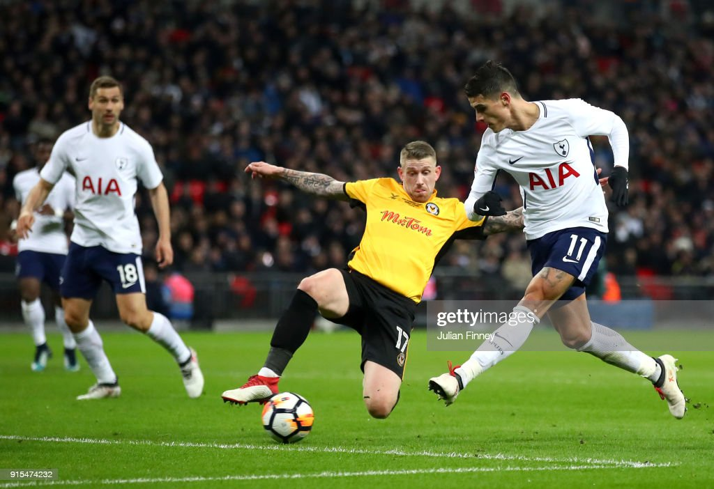 Erik Lamela of Tottenham Hotspur scores his sides second goal during The Emirates FA Cup Fourth Round Replay match between Tottenham Hotspur and Newport County at Wembley Stadium on February 7, 2018 in London, England.