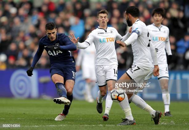 Erik Lamela of Tottenham Hotspur scores his sides second goal during The Emirates FA Cup Quarter Final match between Swansea City and Tottenham...