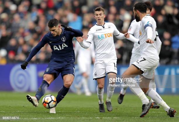 Erik Lamela of Tottenham Hotspur scores his side's second goal during The Emirates FA Cup Quarter Final match between Swansea City and Tottenham...