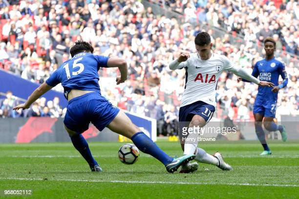 Erik Lamela of Tottenham Hotspur scores his sides third goal during the Premier League match between Tottenham Hotspur and Leicester City at Wembley...