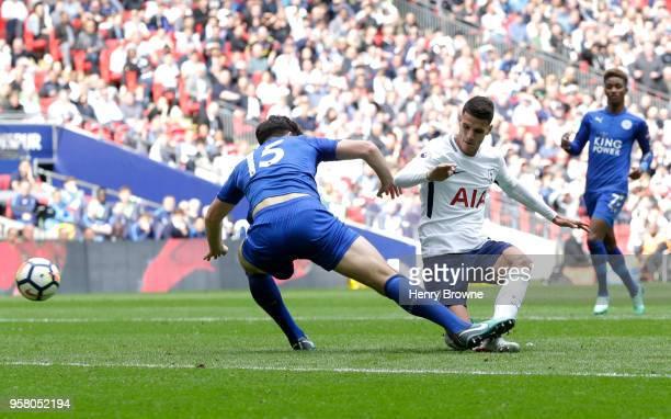 Erik Lamela of Tottenham Hotspur scores his sides third goal during the Premier League match between Tottenham Hotspur and Leicester City at Wembley...