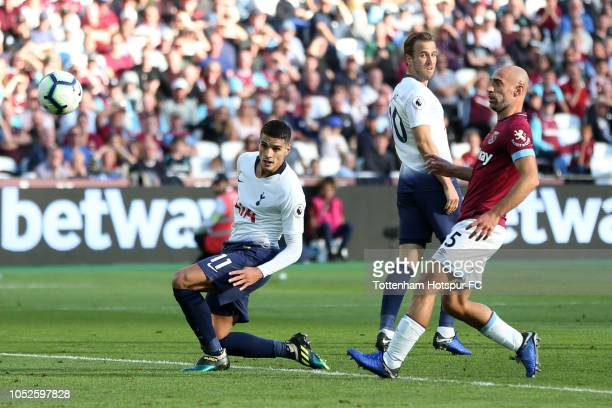Erik Lamela of Tottenham Hotspur scores his team's first goal during the Premier League match between West Ham United and Tottenham Hotspur at London...