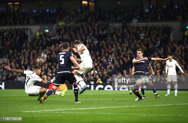 Erik Lamela of Tottenham Hotspur scores his team's fourth goal during the UEFA Champions League group B match between Tottenham Hotspur and Crvena...