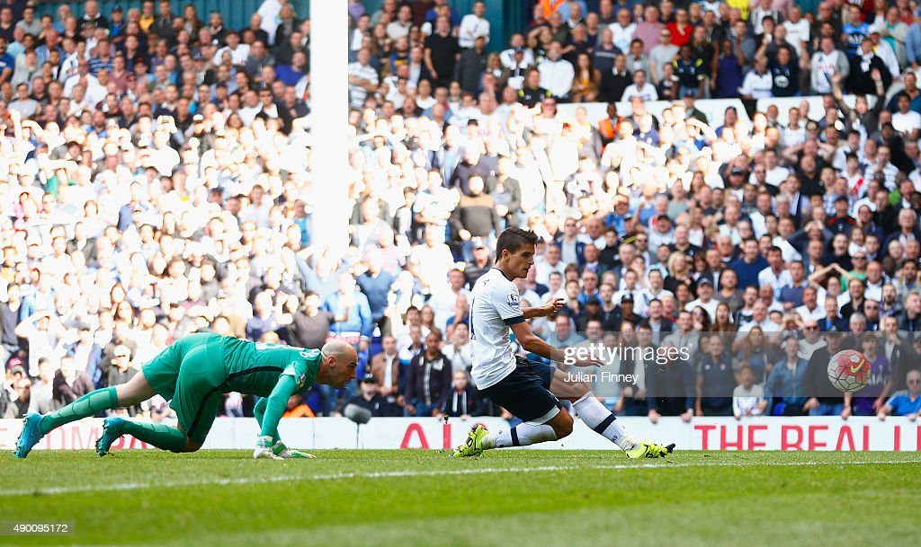 Erik Lamela of Tottenham Hotspur scores his team's fourth goal during the Barclays Premier League match between Tottenham Hotspur and Manchester City at White Hart Lane on September 26, 2015 in London, United Kingdom.