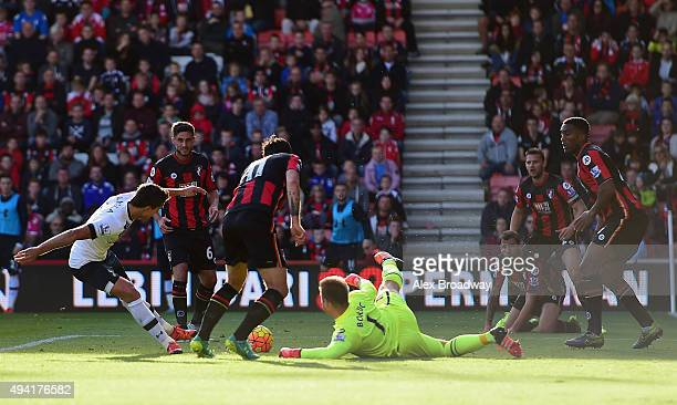 Erik Lamela of Tottenham Hotspur scores his team's third goal during the Barclays Premier League match between AFC Bournemouth and Tottenham Hotspur...