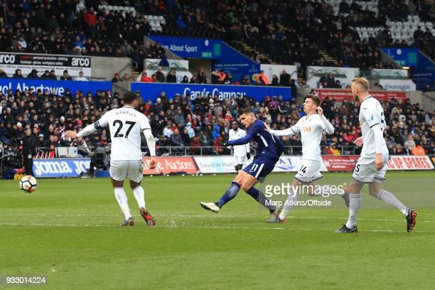 Erik Lamela of Tottenham Hotspur scores their 2nd goal during the Emirates FA Cup Quarter Final match between Swansea City and Tottenham Hotspur at...
