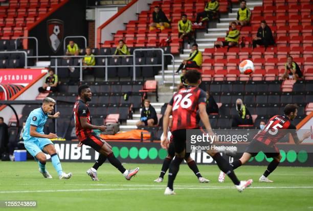 Erik Lamela of Tottenham Hotspur shoots during the Premier League match between AFC Bournemouth and Tottenham Hotspur at Vitality Stadium on July 09...