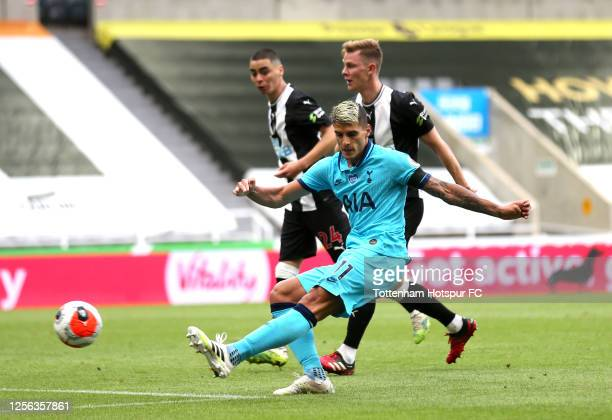 Erik Lamela of Tottenham Hotspur shoots during the Premier League match between Newcastle United and Tottenham Hotspur at St James Park on July 15...