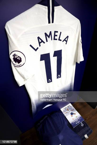 Erik Lamela of Tottenham Hotspur's shirt is seen in the changing rooms ahead of during the Premier League match between Tottenham Hotspur and Fulham...
