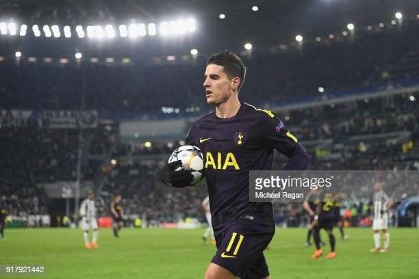 Erik Lamela of Tottenham in action during the UEFA Champions League Round of 16 First Leg match between Juventus and Tottenham Hotspur at Allianz...