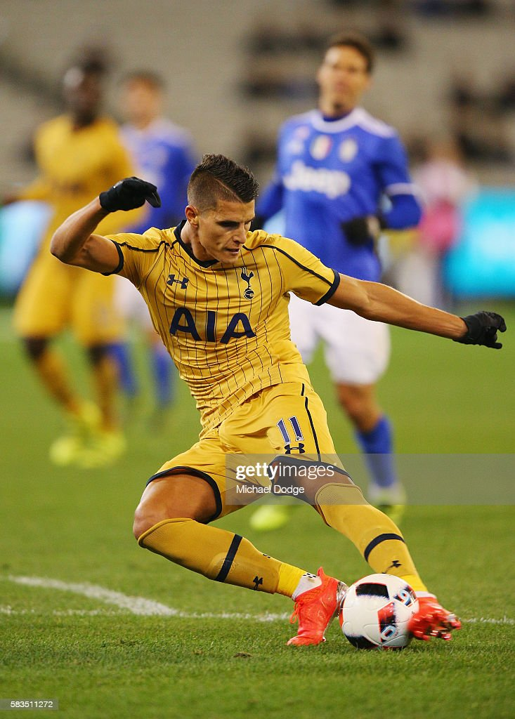 Erik Lamela of Tottenham kicks the ball for a goal during the 2016 International Champions Cup match between Juventus FC and Tottenham Hotspur at Melbourne Cricket Ground on July 26, 2016 in Melbourne, Australia.