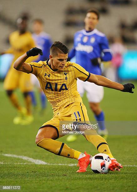 Erik Lamela of Tottenham kicks the ball for a goal during the 2016 International Champions Cup match between Juventus FC and Tottenham Hotspur at...