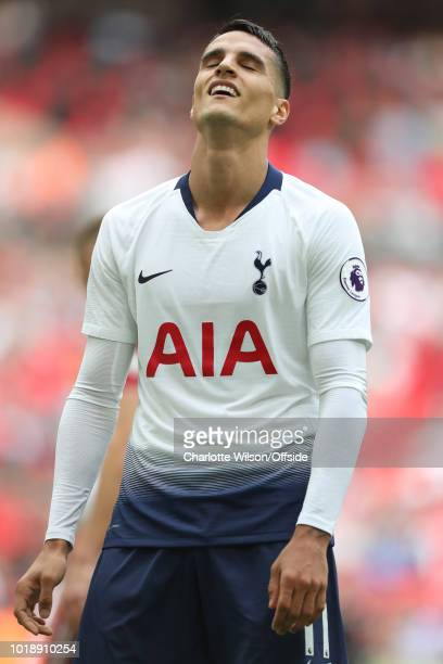 Erik Lamela of Tottenham reacts sheepishly after missing a chance during the Premier League match between Tottenham Hotspur and Fulham FC at Wembley...