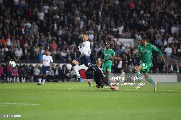 Erik Lamela of Tottenham scores a goal to make it 21 during the Carabao Cup Third Round match between Tottenham Hotspur and Watford at Stadium mk on...