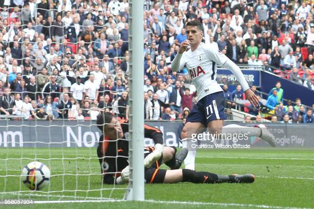 Erik Lamela of Tottenham scores their 4th goal during the Premier League match between Tottenham Hotspur and Leicester City at Wembley Stadium on May...