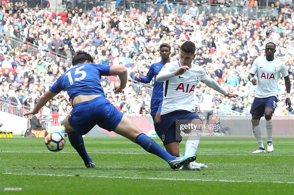 Erik Lamela of Tottenham scores their 4th goal though this is later recorded as an own goal by Christian Fuchs of Leicester during the Premier League match between Tottenham Hotspur and Leicester City at Wembley Stadium on May 13, 2018 in London, England.