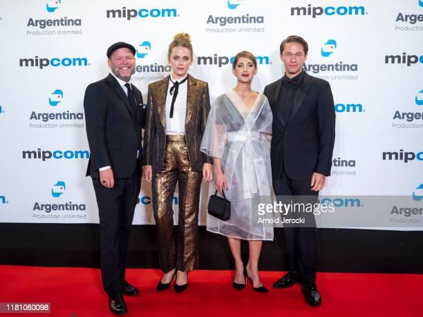 Erik Leijonborg, Katia Winter, Jakob Oftebro and Nina Zanjani attends the opening ceremony of MIPCOM 2019 on October 14, 2019 in Cannes, France.