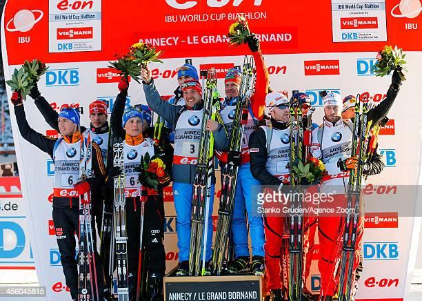 Erik Lesser Andreas Birnbacher Arnd Peiffer Simon Schempp of Germany takes 2nd placeIvan Tcherezov Alexandr Loginov Evgeniy Garanichev Anton Shipulin...