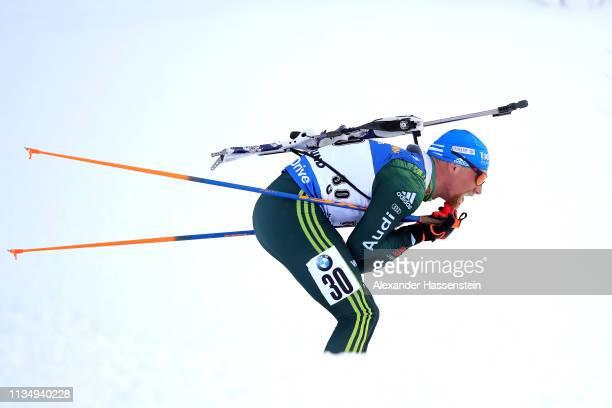 Erik Lesser of Germany competes at the IBU Biathlon World Championships Men 10km Sprint at Swedish National Biathlon Arena on March 09, 2019 in...