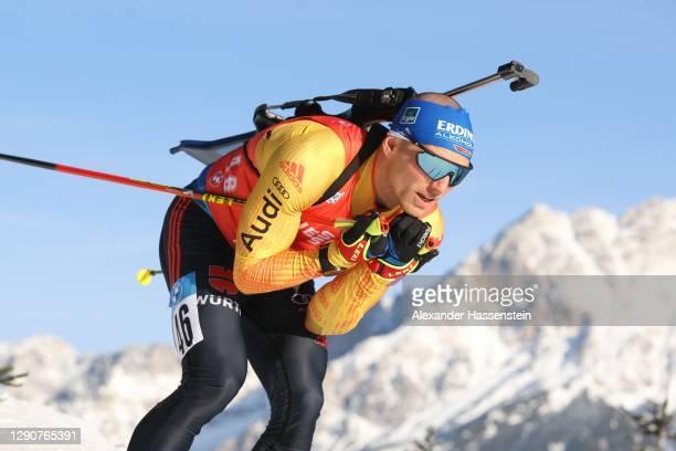 Erik Lesser of Germany competes during the Men 10 km Sprint Competition at the BMW IBU World Cup Biathlon Hochfilzen at Biathlon Stadium Hochfilzen...