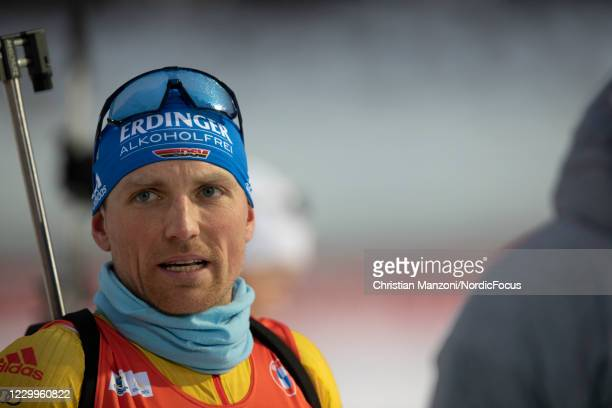 Erik Lesser of Germany competes during the Men 12.5 km Pursuit Competition at the BMW IBU World Cup Biathlon Kontiolahti at on December 5, 2020 in...