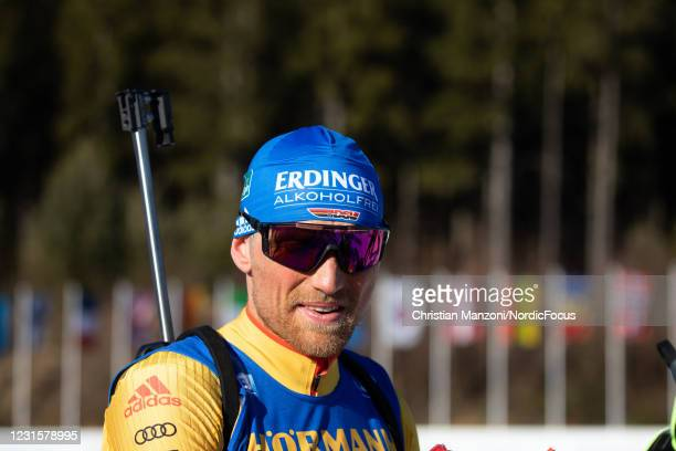 Erik Lesser of Germany competes during the Men 12.5km Pursuit Competition at the BMW IBU World Cup Biathlon Nove Mesto na Morave on March 7, 2021 in...