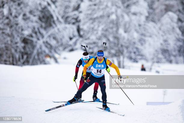 Erik Lesser of Germany competes during the Men 15 km Mass Start Competition at the BMW IBU World Cup Biathlon Antholz-Anterselva on January 24, 2021...