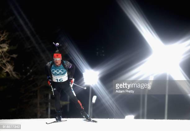 Erik Lesser of Germany competes during the Men's 20km Individual Biathlon at Alpensia Biathlon Centre on February 15 2018 in Pyeongchanggun South...