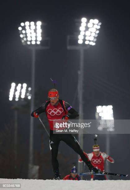 Erik Lesser of Germany competes during the Men's 4x7.5km Biathlon Relay on day 14 of the PyeongChang 2018 Winter Olympic Games at Alpensia Biathlon...