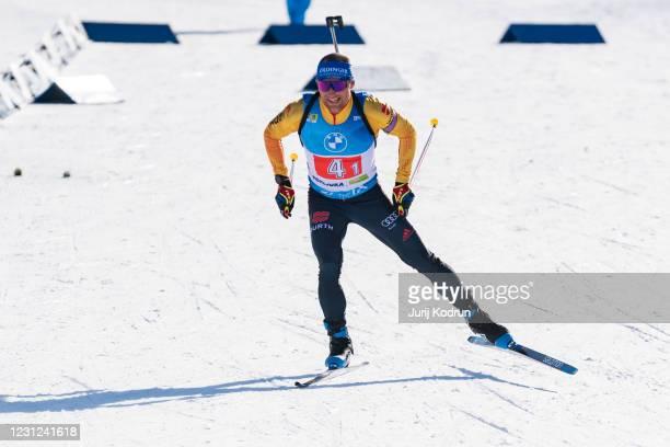 Erik Lesser of Germany competes during the Single Mixed Relay at the IBU World Championships Biathlon Pokljuka at Rudno Polje, Pokljuka, on February...