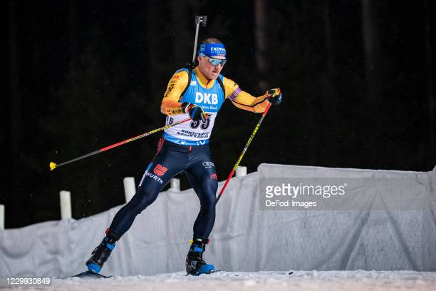 Erik Lesser of Germany in action competes during the Men 10 km Sprint Competition at the BMW IBU World Cup Biathlon Kontiolahti at on December 3,...