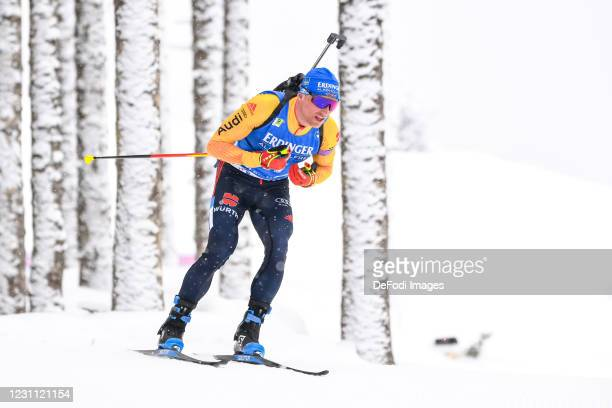 Erik Lesser of Germany in action competes during the Men 10 km Sprint Competition at the IBU World Championships Biathlon Pokljuka at on February 12,...