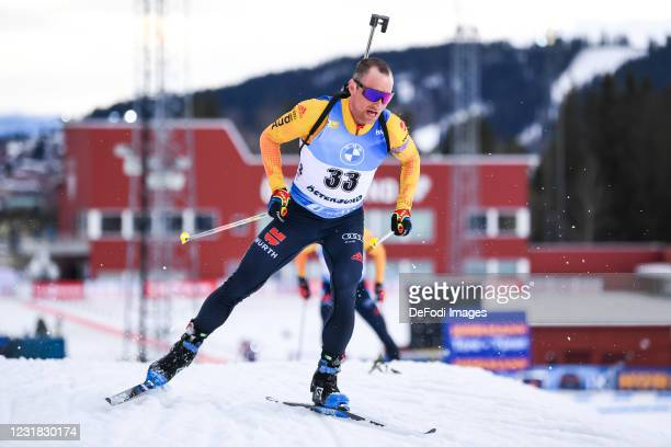 Erik Lesser of Germany in action competes during the Men 12.5 km Pursuit Competition at the IBU World Championships Biathlon Ostersund on March 20,...