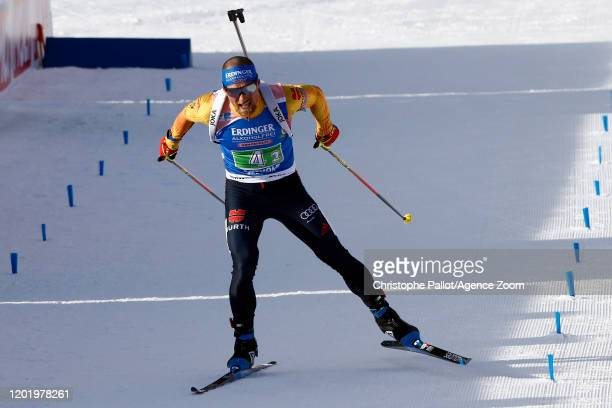 Erik Lesser of Germany in action during the IBU Biathlon World Championships Men's and Women's Single Mixed Relay on February 20, 2020 in Antholz...