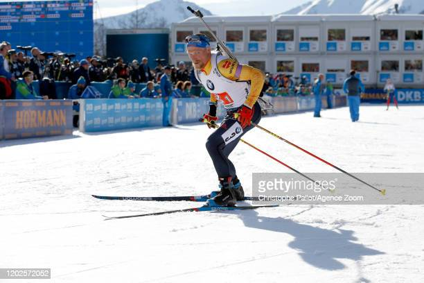 Erik Lesser of Germany in action during the IBU Biathlon World Championships Men's 4x7.5 km Relay Competition on February 22, 2020 in Antholz...