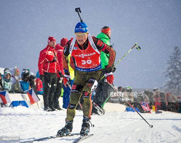 Erik Lesser of Germany in action during the Men«s 15 km mass start Biathlon race at the IBU Biathlon World Cup Ruhpolding on January 16 2016 in...