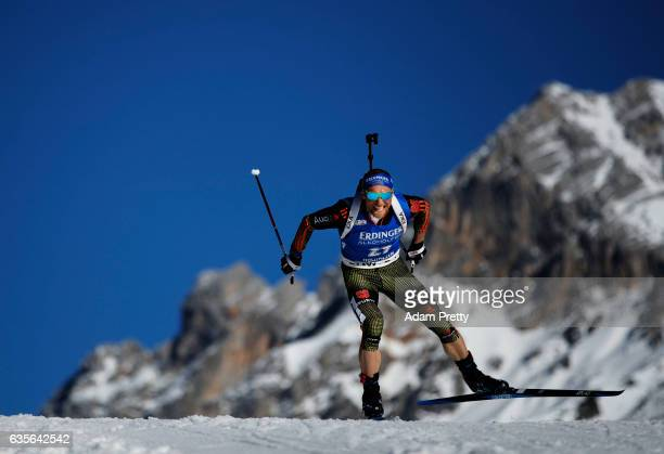 Erik Lesser of Germany in action during the Men's 20km Individual competition of the IBU World Championships Biathlon 2017 at the Biathlon Stadium...