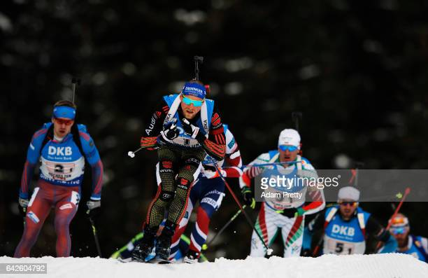 Erik Lesser of Germany leads the pack off the start during the Men's 4x 7.5km relay competition of the IBU World Championships Biathlon 2017 at the...