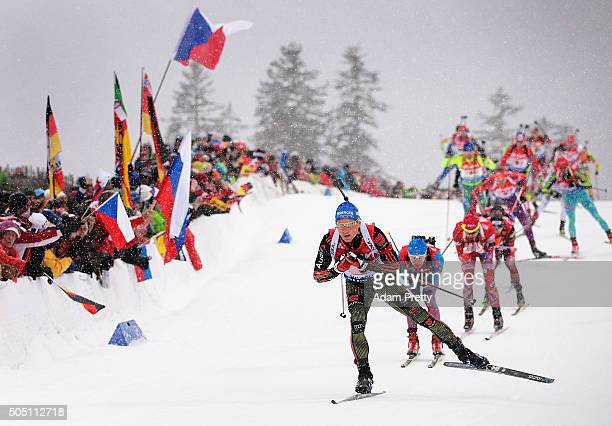 Erik Lesser of Germany leads the pack on the first lap of the Men's 4x7.5km relay of the Ruhpolding IBU Biathlon World Cup on January 15, 2016 in...