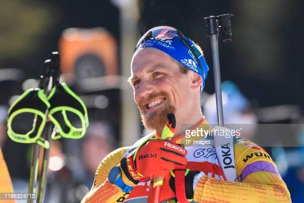 Erik Lesser of Germany looks on during a training session for the BMW IBU World Cup Biathlon Pokljuka on January 22, 2020 in Pokljuka, Slovenia.