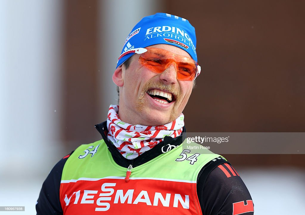 Erik Lesser of Germany looks on during an offical training session during the IBU Biathlon World Championships at Vysocina Arena on February 8, 2013 in Nove Mesto na Morave, Czech Republic.