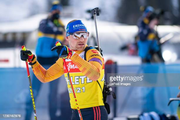 Erik Lesser of Germany looks on during the Men 10 km Sprint Competition at the BMW IBU World Cup Biathlon Hochfilzen on December 16, 2020 in...