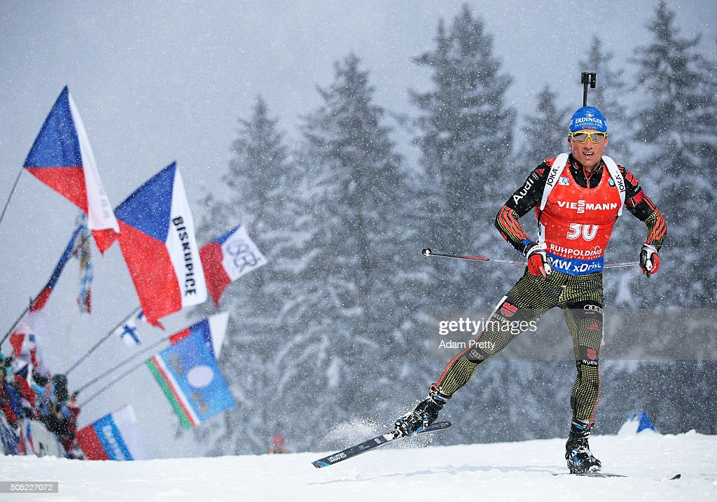 Erik Lesser of Germany on his way to victory in the Men's 15km Biathlon race of the Ruhpolding IBU Biathlon World Cup on January 16, 2016 in Ruhpolding, Germany.