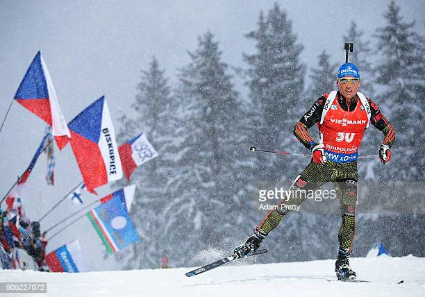 Erik Lesser of Germany on his way to victory in the Men's 15km Biathlon race of the Ruhpolding IBU Biathlon World Cup on January 16, 2016 in...