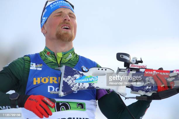 Erik Lesser of Germany reacts at the Zeroing for the IBU Biathlon World Championships Single Mixed Relay at Swedish National Biathlon Arena on March...