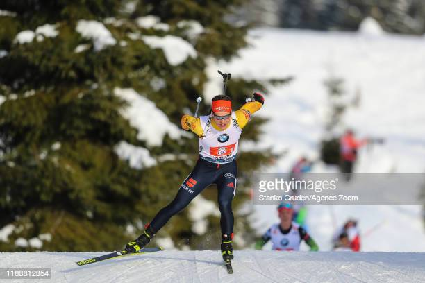 Erik Lesser of Germany takes 2nd place during the IBU Biathlon World Cup Men's Relay on December 15, 2019 in Hochfilzen, Austria.
